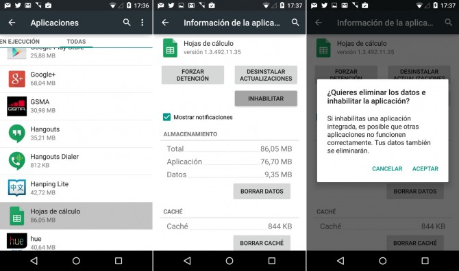 Inhabilitar una aplicación en Android
